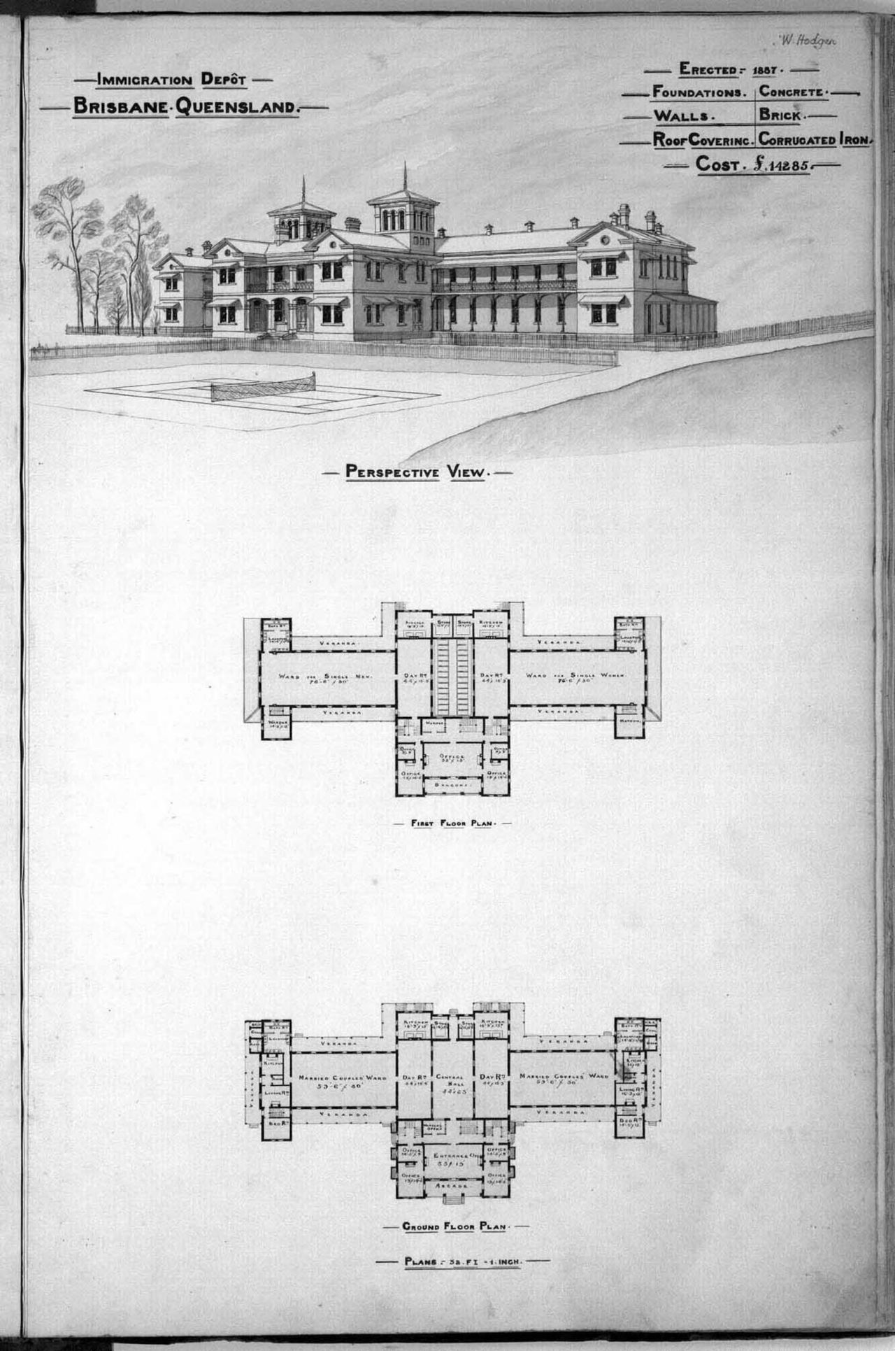1888 / Architectural plans and perspective drawing of the Immigration Depot, Brisbane / Queensland State Archives / Digital ID 2580
