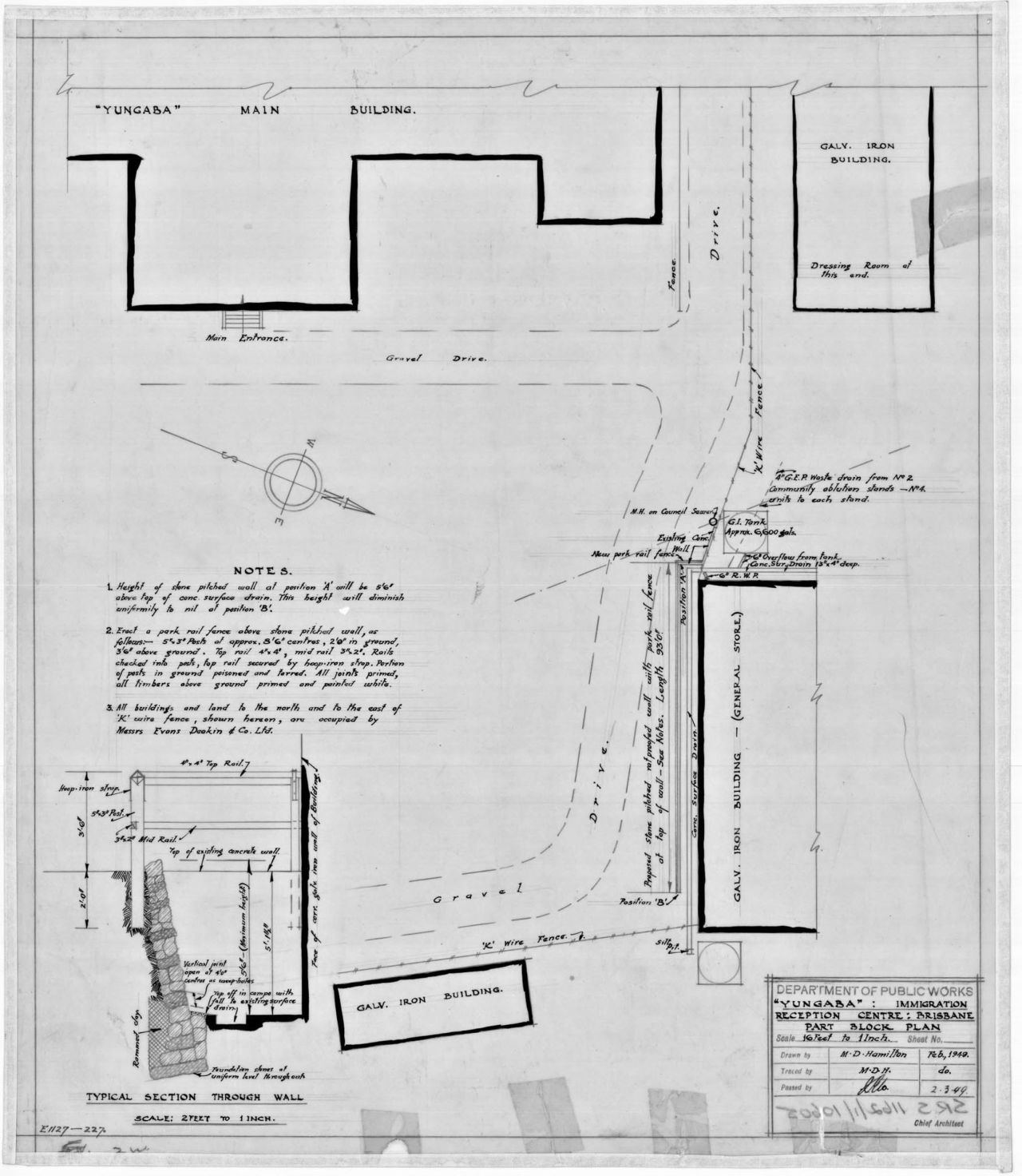 March 1949 / Yungaba Immigration Reception Centre, Brisbane, Part Block Plan / Queensland State Archives / Digital ID 5206