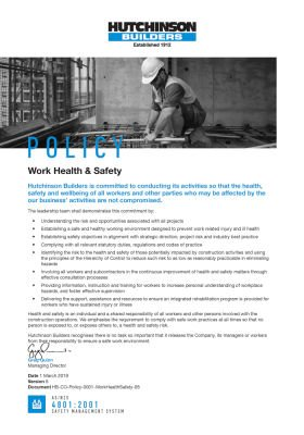 Work Health & Safety Policy