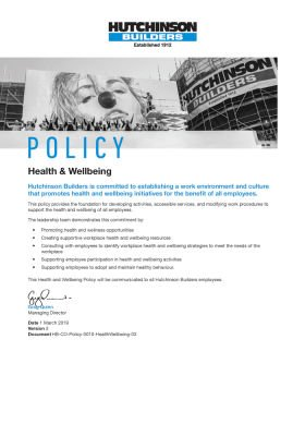 Health & Wellbeing Policy