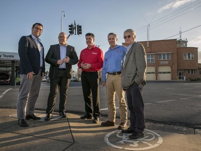 L-to-R-Hyne-Timbers-Shane-Robertson-Qld-Treasurer-Curtis-Pitt-Maryborough-MP-Bruce-Saunders-Hyne-Timbers-James-Hyne-and-Chris-Hyne-at-the-Maryborough-Fire-Station.jpg